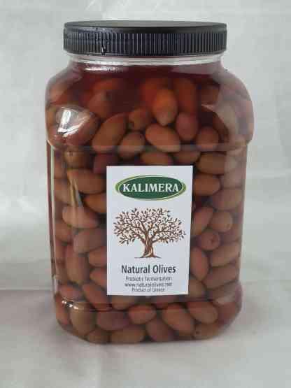 Каламатас молоді оливки з кісточкою в морській солі 3л ПЭТ-банка 1.9кг с.в. калибр Mini 381-420