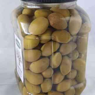 Дамаскино Зелені оливки з кісточкою в морській солі 3л ПЭТ-банка 1.9кг с.в. калибр 141 -160 Giants
