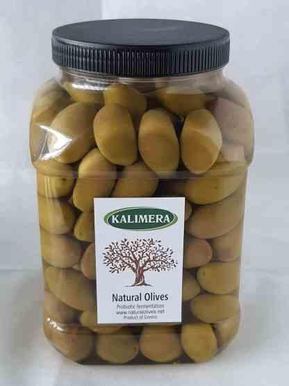 Дамаскино Зелені оливки з кісточкою в морській солі 3л ПЭТ-банка 1.9кг с.в. калибр71 -90 Atlas