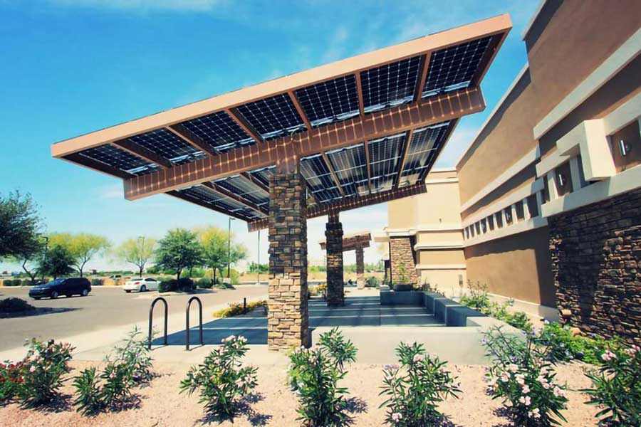 Bifacial solar panels used on a parking canopy.