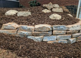 Stone Retaining Walls, Mulch Beds