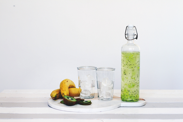 2 glasses of water infused with Kiwi