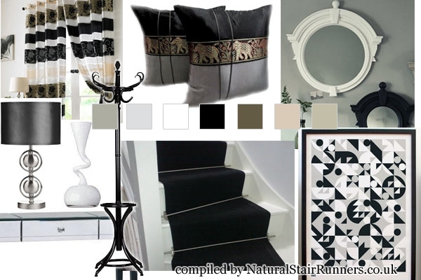 Create A Modern Black And White Space With Our Black Sisal Carpet | Black And White Stair Runners | Staircase | Hallway | Cool | Diy | Jute