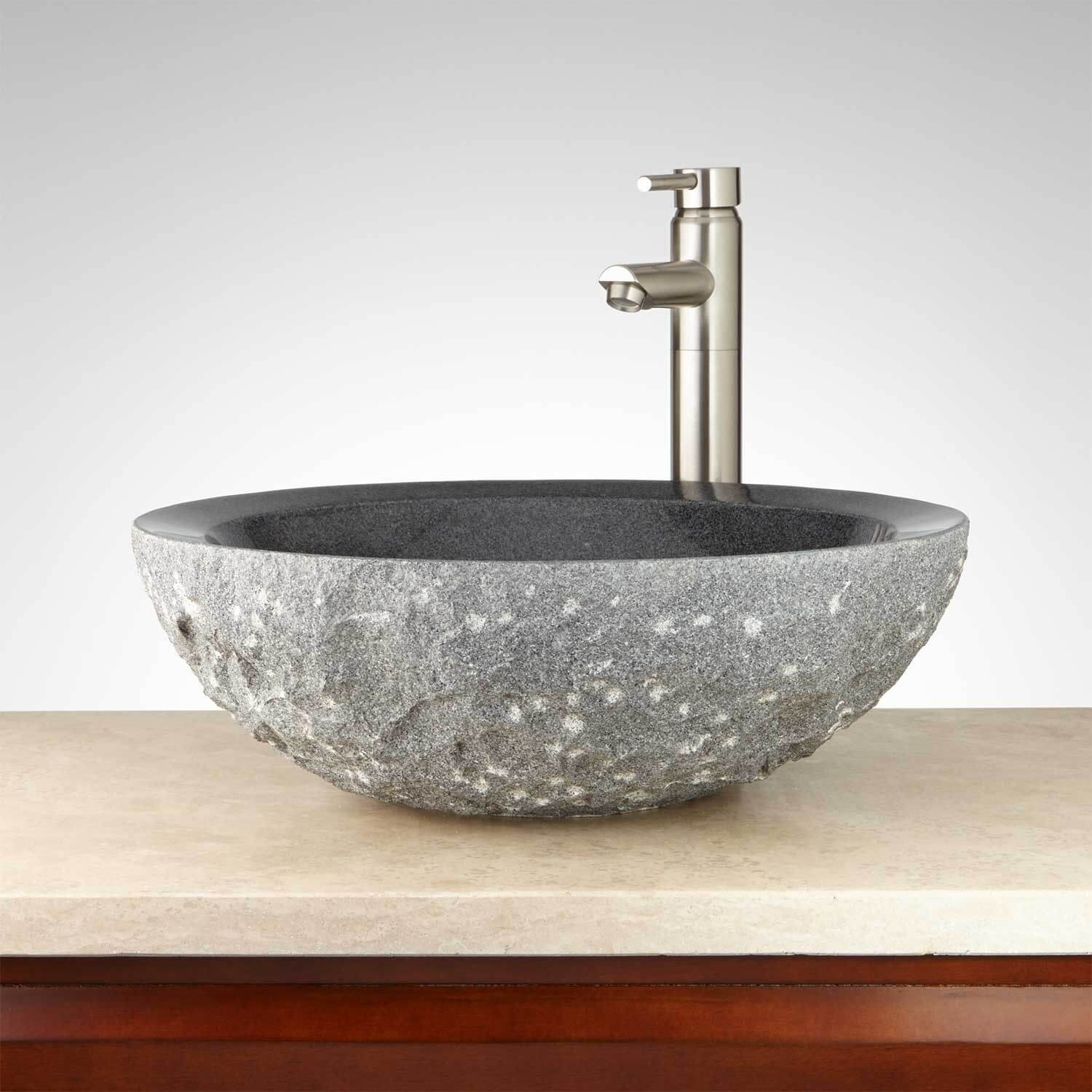 round kitchen sink hide trash can chiseled granite vessel natural stone creations