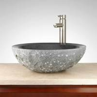 Round Chiseled Granite Vessel Sink | Natural Stone Creations