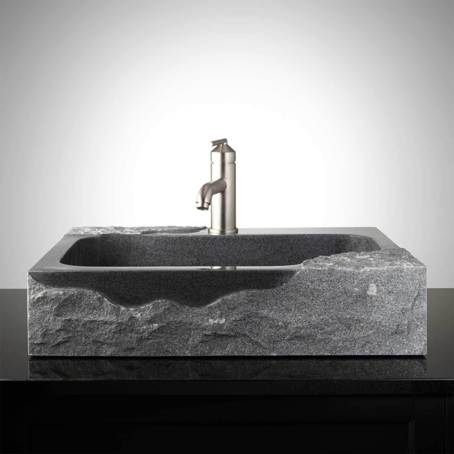 Rectangular Granite Vessel Sink with Chiseled Exterior and