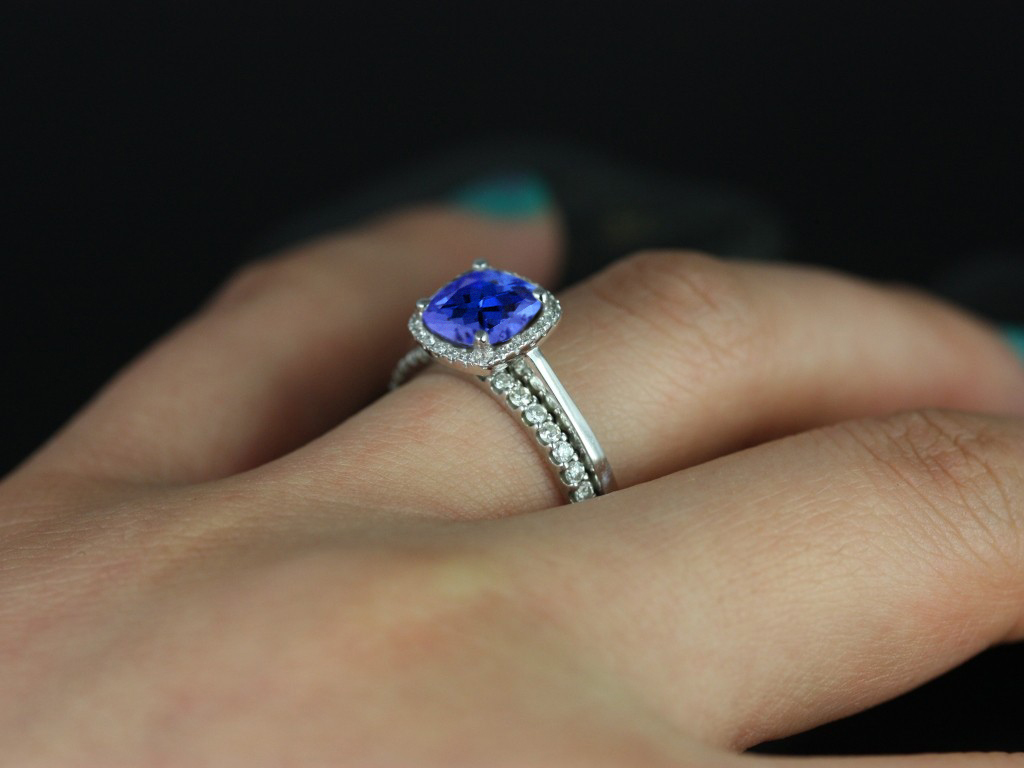 engagement cut halo cushion rings diamond ring tanzanite