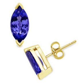 Tanzanite 14k Yellow Gold Stud Earring