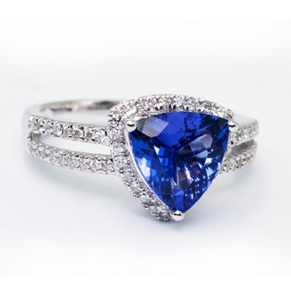 Trillion Shape Tanzanite Ring