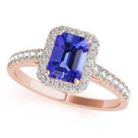Rose Gold Emerald-Cut Tanzanite Ring With Diamonds
