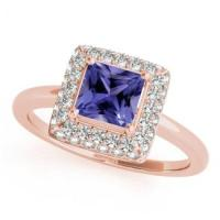 Rose Gold Princess Tanzanite Ring With Diamonds