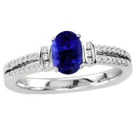 White Gold Oval Tanzanite Ring With Diamonds