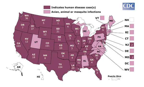 Reports of two fatal West Nile Virus cases from California and ...