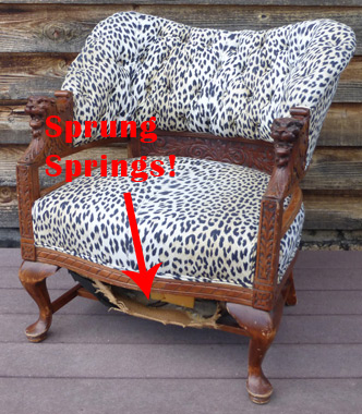 sofa spring clip strip country cottage how to repair sprung springs webbing in upholstery unique lion head chair