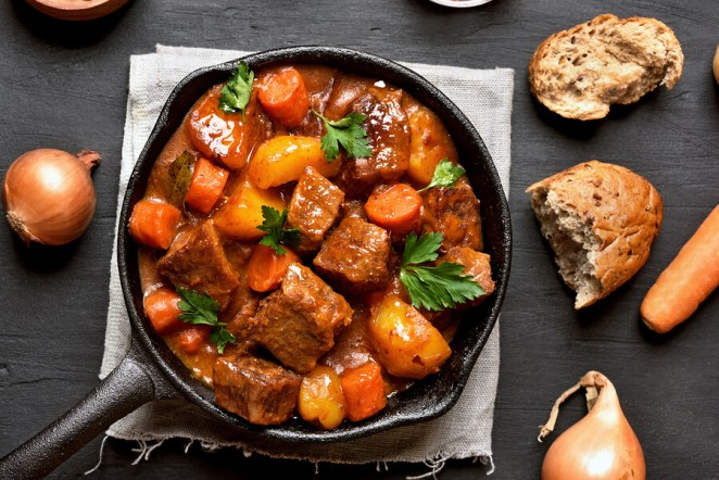 Goulash, Beef Stew In Cast Iron Pan