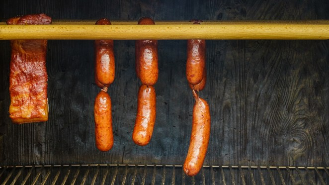 Traditional Food. Smoked Sausages Ham Meat