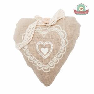 Textil szív (natúr, csipkével)