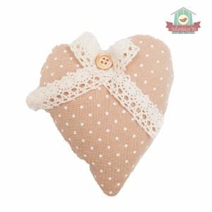 Textil szív (natúr, pöttyös, masnival)