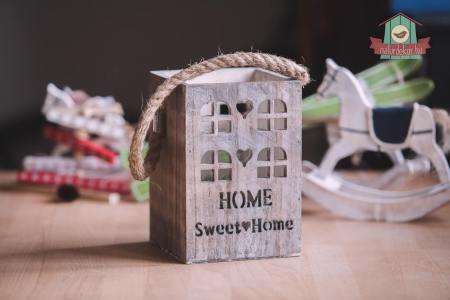 Sweet Home lámpás fából, üveg mécsestartóval