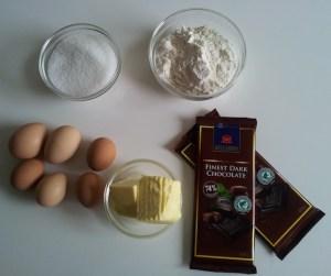 Ingrédients pour votre gâteau chocolat