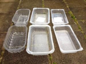 Raviers récupérés en plastique alimentaire