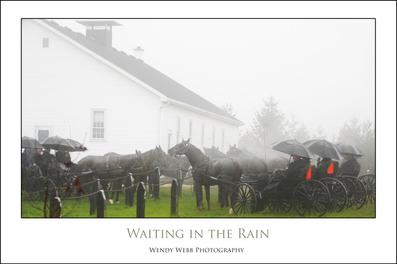 menonites waiting in the rain