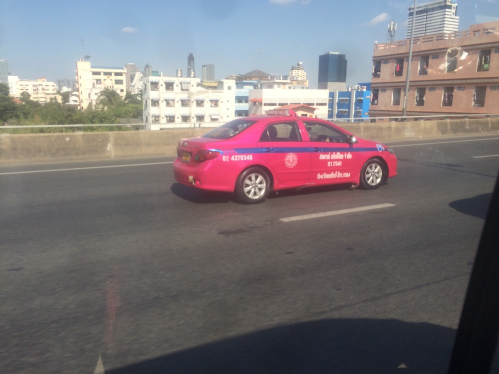 The pink taxis of Bangkok. They have other colors too, but these stand out!
