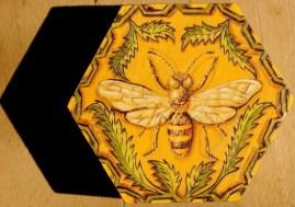 Bee pyrography, copyright Gail Diedrichsen