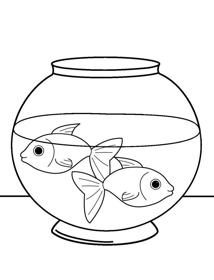 Printable Two Fish In A Tank Coloring Page For Both Aldults And Kids