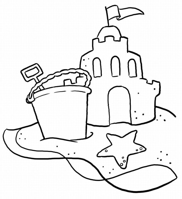 Printable Sand Castle coloring page for both aldults and kids.