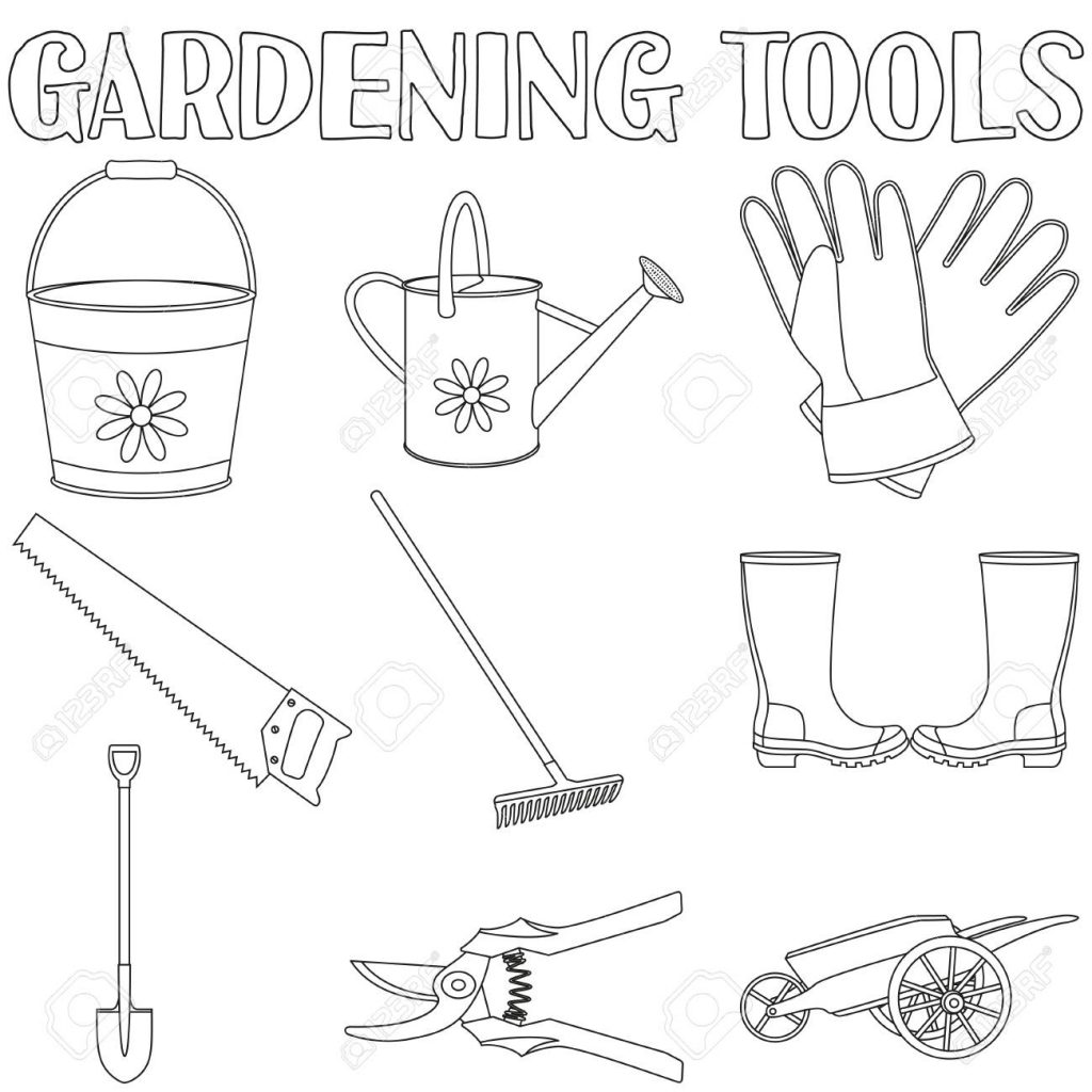 Printable Gardening Tools Coloring Page For Both Aldults