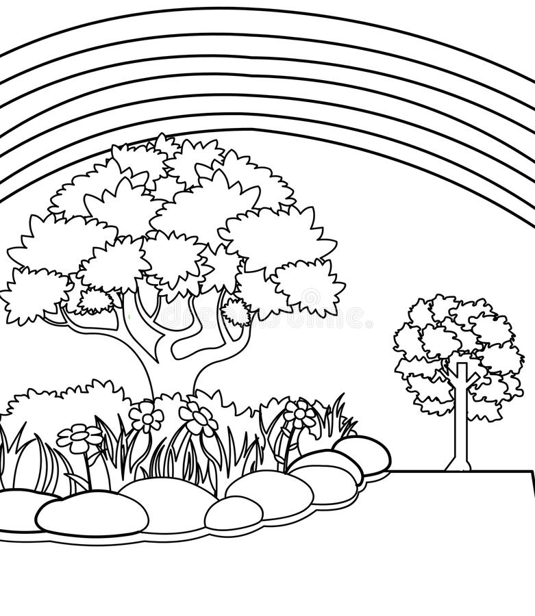 Printable Rainbow And Garden coloring page for both