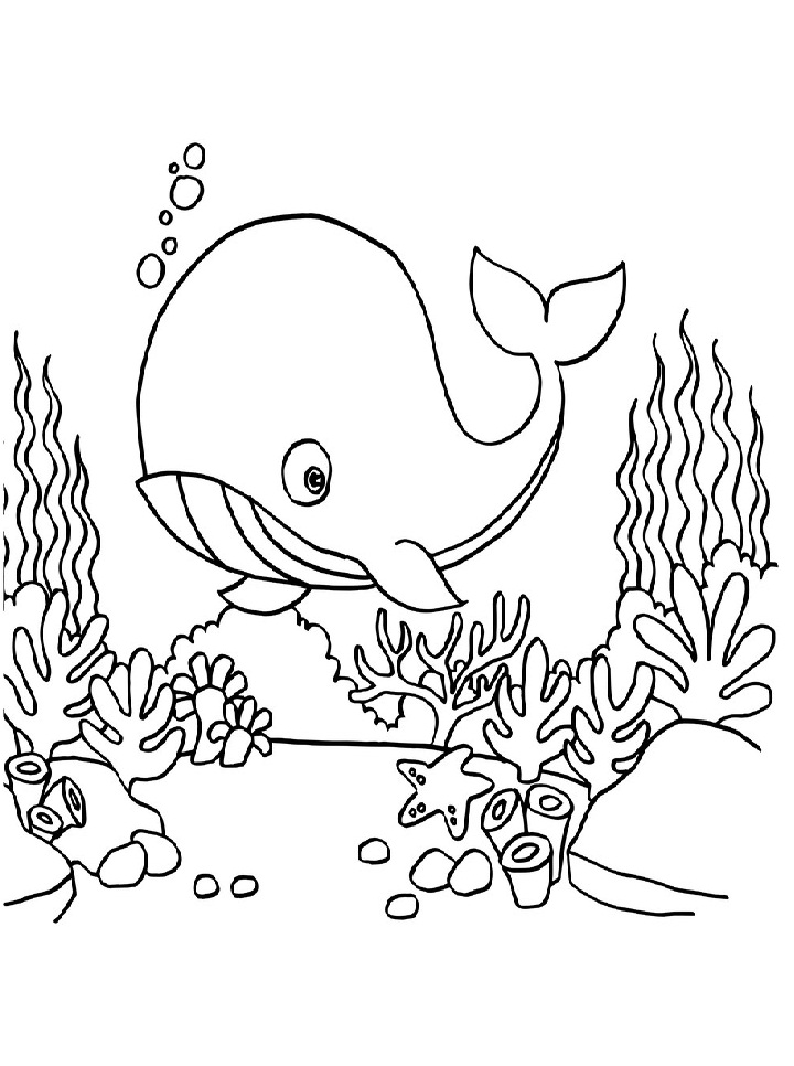 Printable Whale Under The Sea coloring page for both