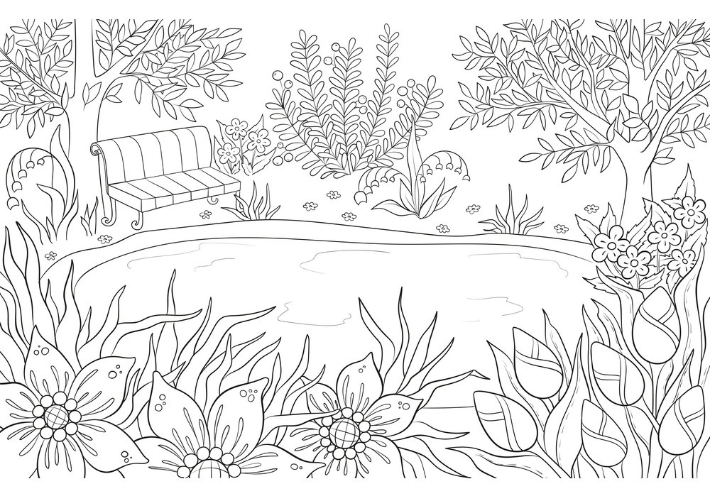 Printable Small Pond Landscape coloring page for both