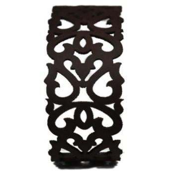 Bracelet cuir marron motif baroque
