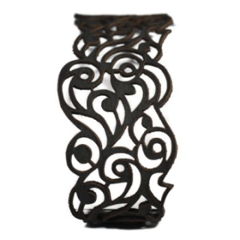 Bracelet cuir noir motif vagues