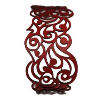 Bracelet cuir rouge motif vagues