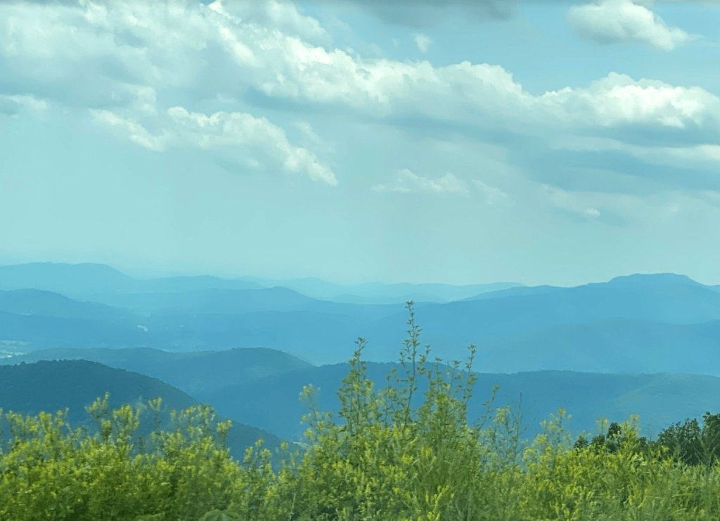blue ridge mountains with clouds