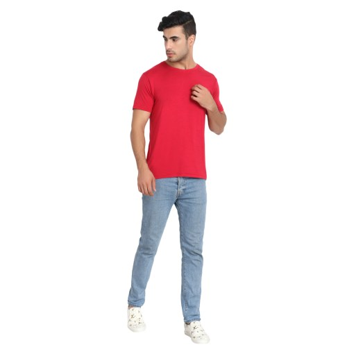 Naturefab Mens Bamboo Clothing T Shirt Red maroon Roundneck 2