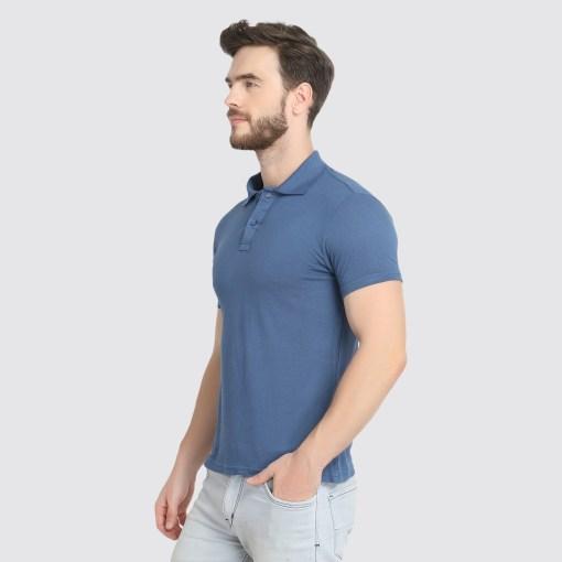 Naturefab Mens Sustainable Bamboo Fabric Polo Tshirt Blue Grey 5