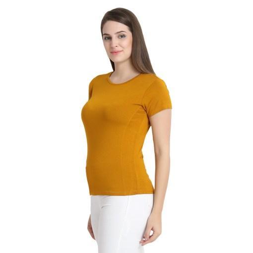 Naturefab Womens Sustainable Bamboo Fashion T Shirt Mustard 7