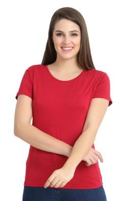 Naturefab Womens Sustainable Bamboo FibreT Shirt Maroon Red 3