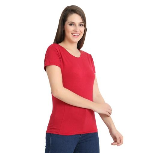 Naturefab Womens Sustainable Bamboo FibreT Shirt Maroon Red 5