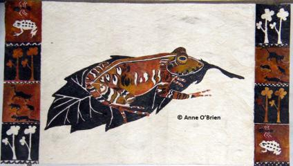 Fiji ground frog - one of the paintings that will be auctioned at the launch. The painting is made out of masi, and bordered with symbols of threats to the survival of the frog.