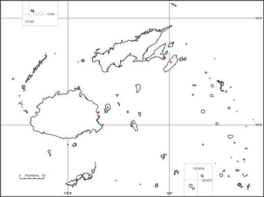 Fiji ground frog map