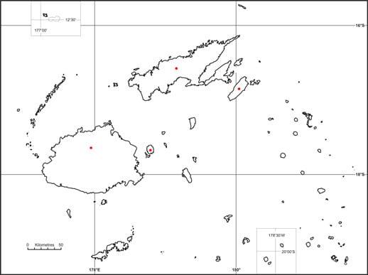 Red-throated lorikeet (Charmosyna amabilis) map