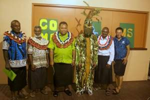 Our mascot, made of 100% local, recycled materials with our chief guest at the 2015 World Biodiversity Day Celebrations and heads of the landowning clans from Namosi and Navosa.
