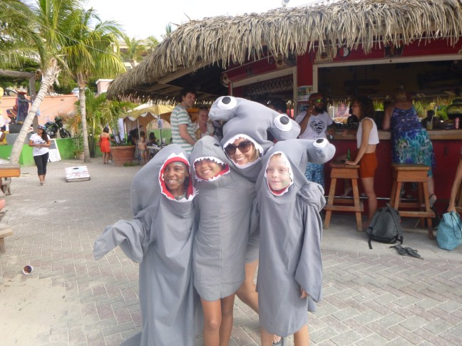kids in shark customes