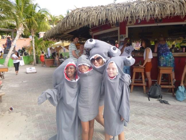 kids in shark customes
