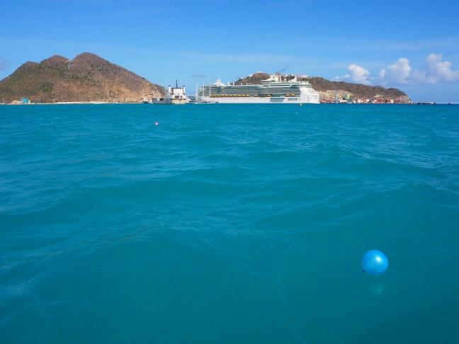 Plastic balloons on the ocean near St Maarten